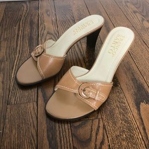 Franco Sarto Heel Slip On Sandals with Buckle 7.5